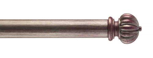 Gardinenstange von Byron & Byron - Fluted Button Fucshia Distressed Silver