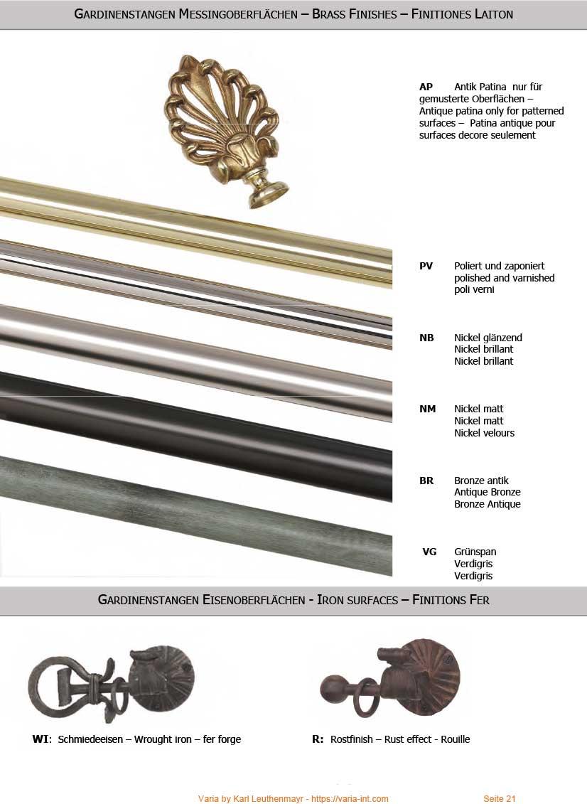 Vorhangstangen Messing und Eisen Farben
